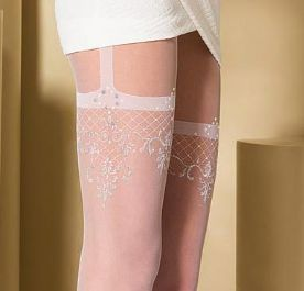 White Patterned Suspender Tights with Silver Thread